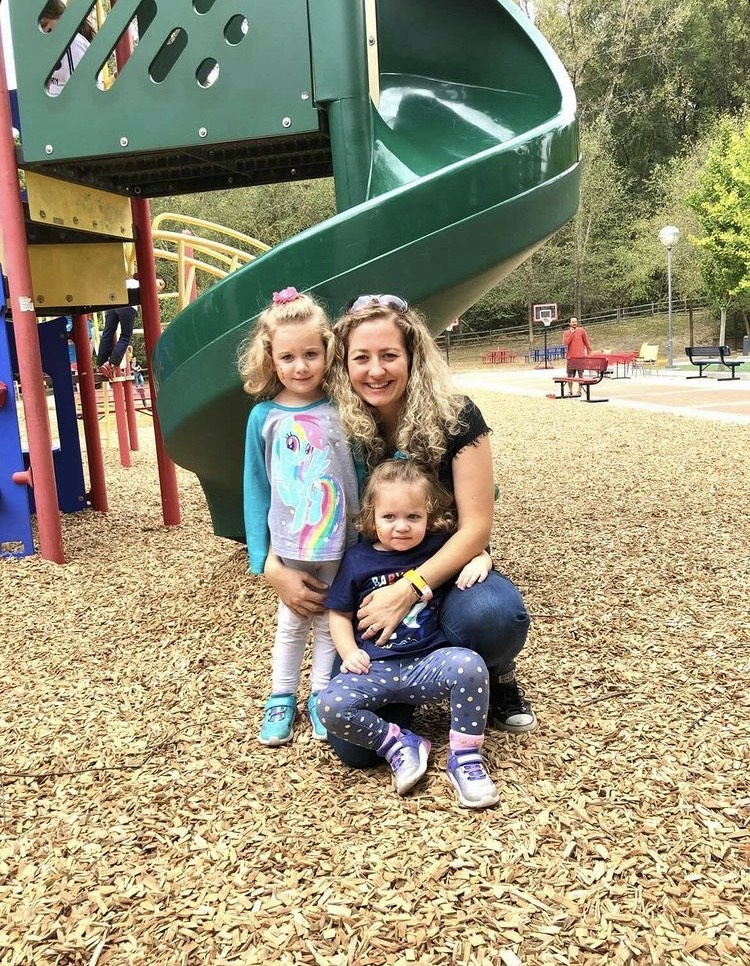 Elisabeth Figert Sensory play kit Mom with girls at playground