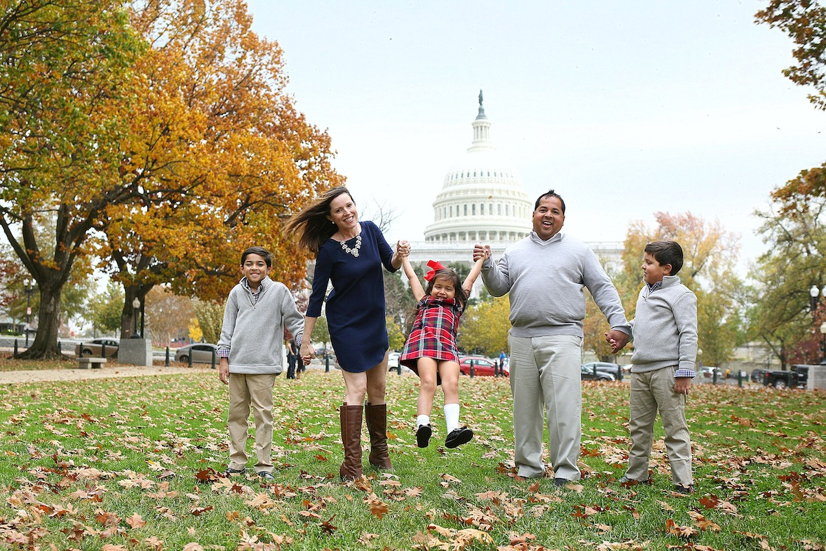Neil and Rebecca Chatterjee DC Insider Mom on the Street with family in front of Capitol