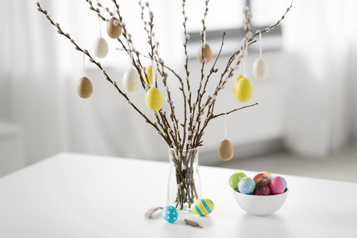 easter egg tree with pussy willow