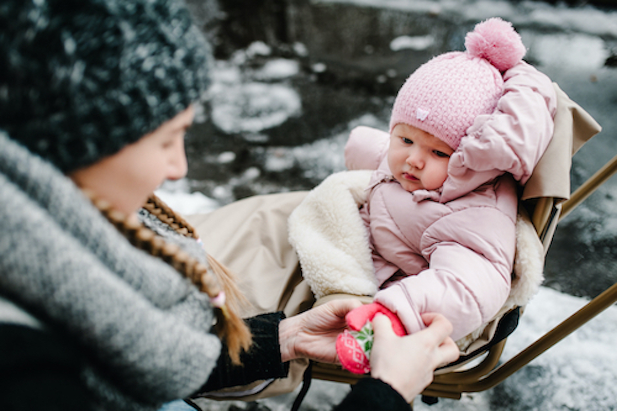 Keep your baby in warm clothes for winter.